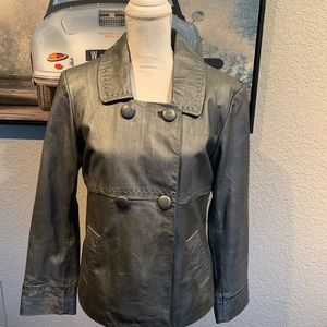 Chico's genuine leather metallic jacket